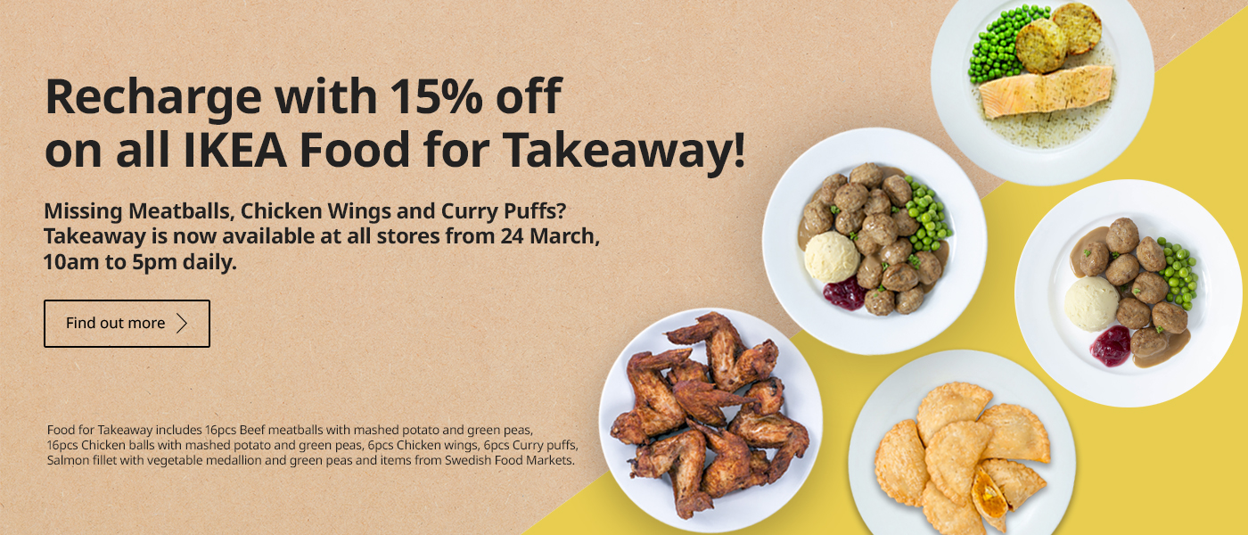 15% off on all IKEA food for takeaway