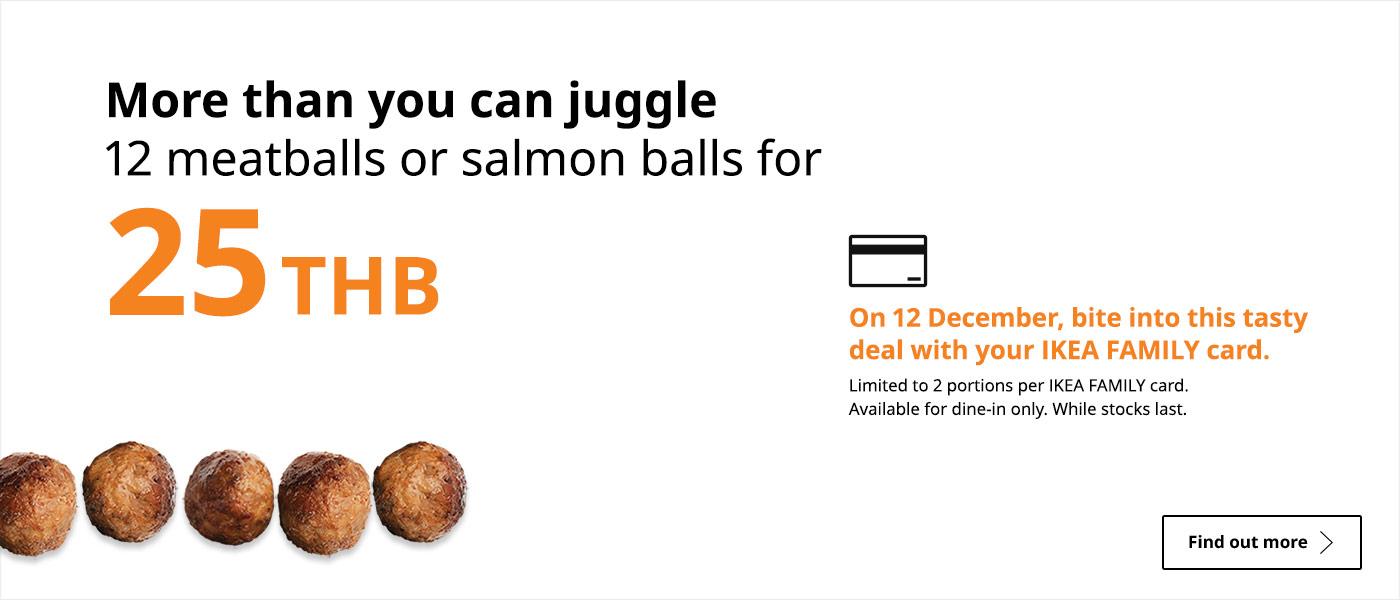 12 meatballs/salmon balls for 25 THB